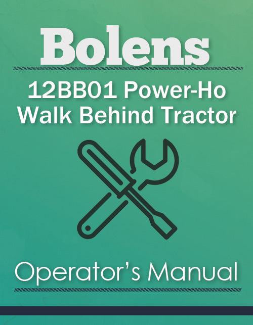 Bolens 12BB01 Power-Ho Walk Behind Tractor Manual Cover