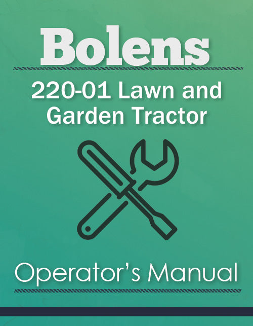 Bolens 220-01 Lawn and Garden Tractor Manual Cover