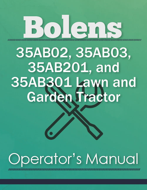 Bolens 35AB02, 35AB03, 35AB201, and 35AB301 Lawn and Garden Tractor Manual Cover
