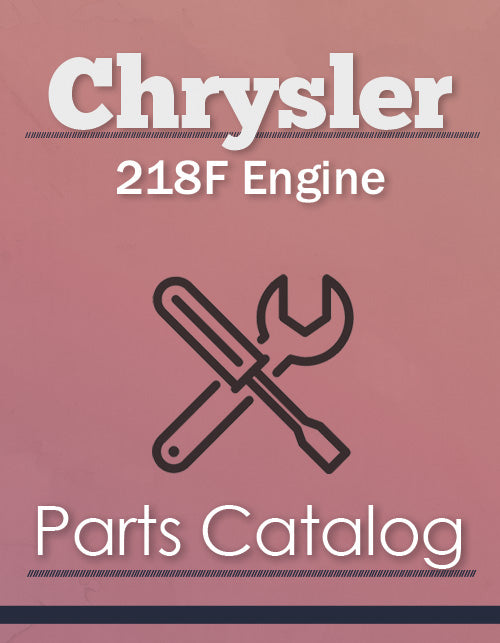 Chrysler 218F Engine - Parts Catalog Cover