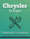 Chrysler 31 Engine Manual Cover