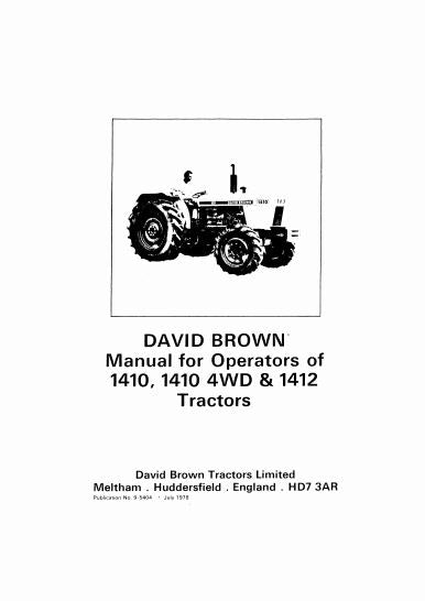 David Brown 1410 and 1412 Tractor Manual