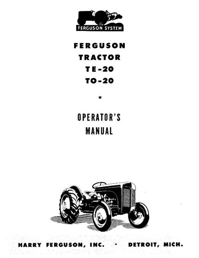 Ferguson TE-20 and TO-20 Tractor Manual