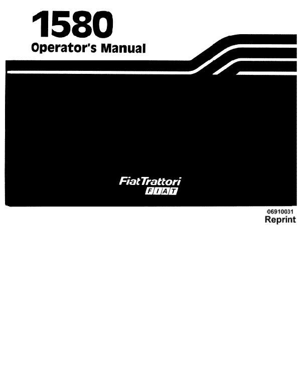 Fiat Hesston 1580 and 1580DT Tractor Manual