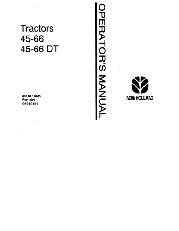 Fiat Hesston 45-66, 45-66DT Tractor Manual