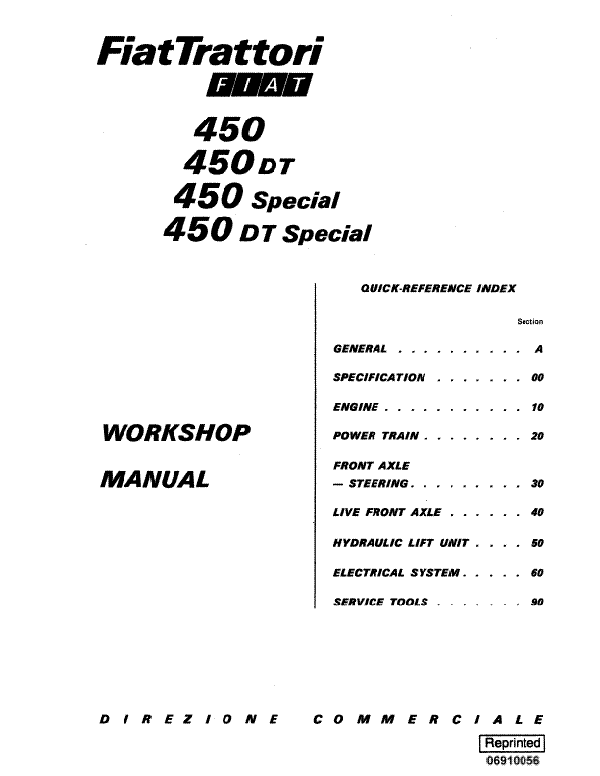 Fiat Hesston 450, 450 DT, 450 Special, and 450DT Special Tractor - Service Manual