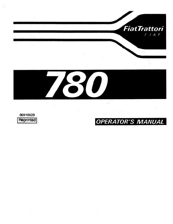 Fiat Hesston 780 and 780DT Tractor Manual