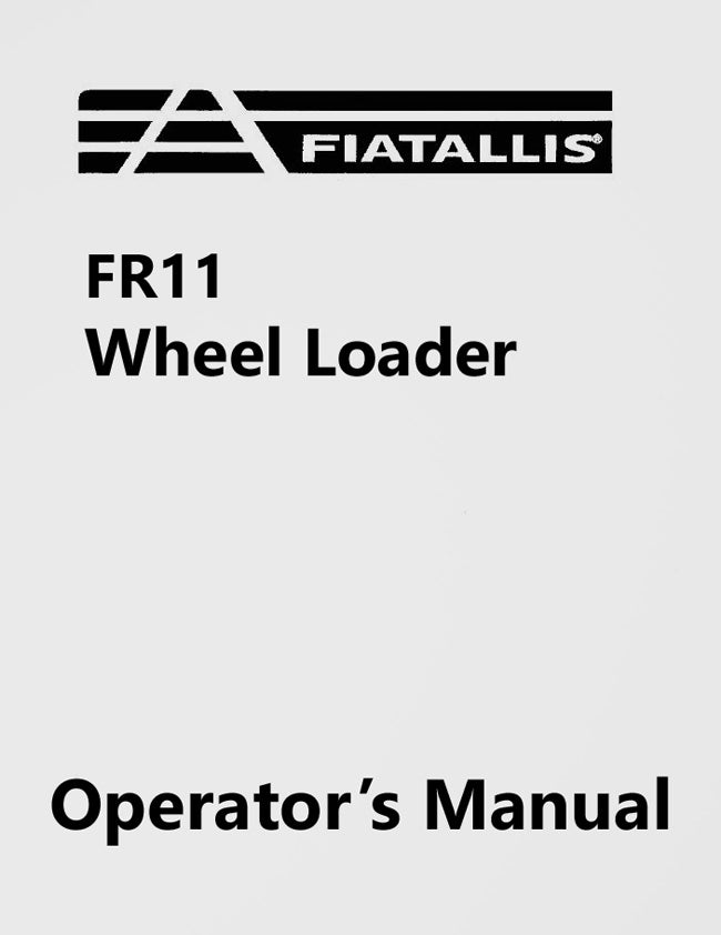 Fiat-Allis FR11 Wheel Loader Manual Cover