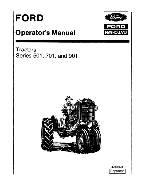Ford 501, 541, 701, 741, 771, 901, and 971 Tractor Manual