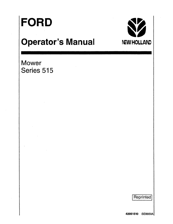 Ford 515 Mounted Mower Manual