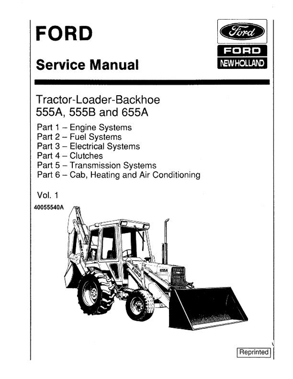 Ford 555A, 555B, 655, and 655A Tractor-Loader-Backhoe
