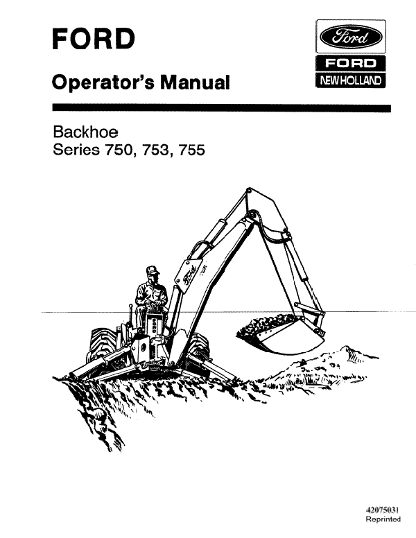 Ford 750, 753 and 755 Backhoe Manual