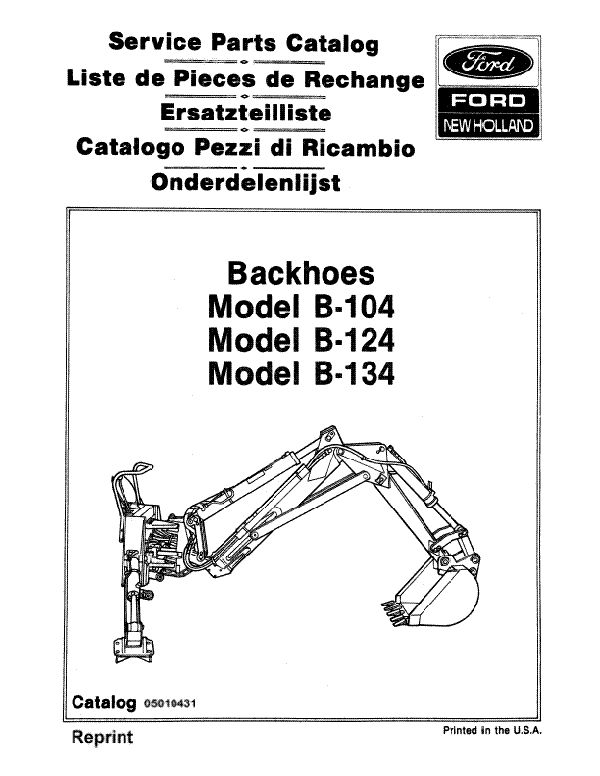 Ford B-104, B-124 and B-134 Backhoe - Parts Catalog