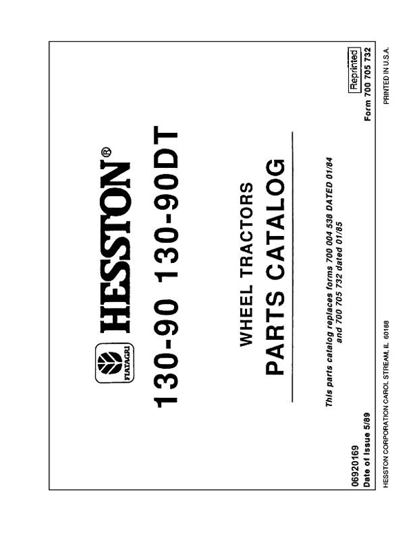 Fiat Hesston 130-90 and 130-90DT Tractor - Parts Catalog