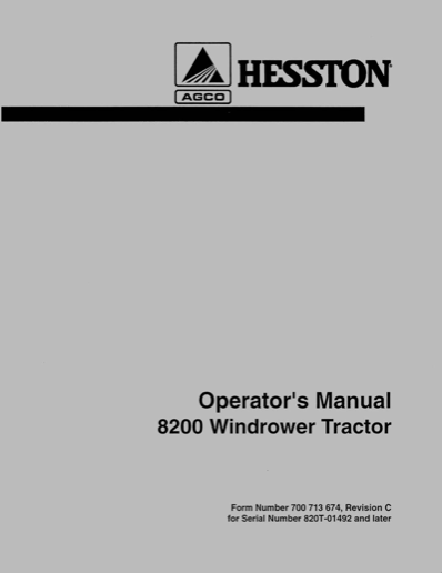 Hesston 8200 Windrower Manual | Farm Manuals Fast