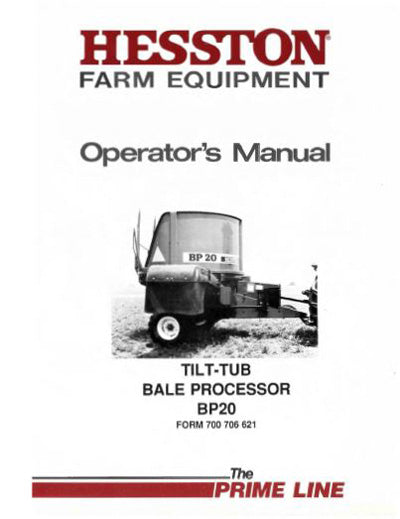 Hesston BP20 Hay Processor Manual