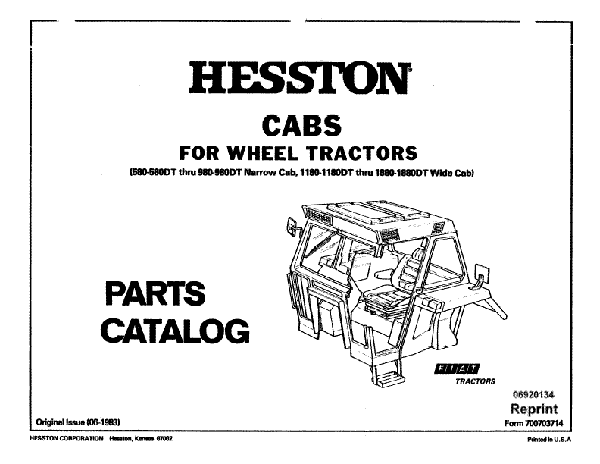 Fiat Hesston 1180, 1180DT, 1880, 1880DT, 580, 580DT, 980 and 980DT Tractor - Parts Catalog