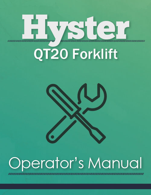 Hyster QT20 Forklift Manual Cover