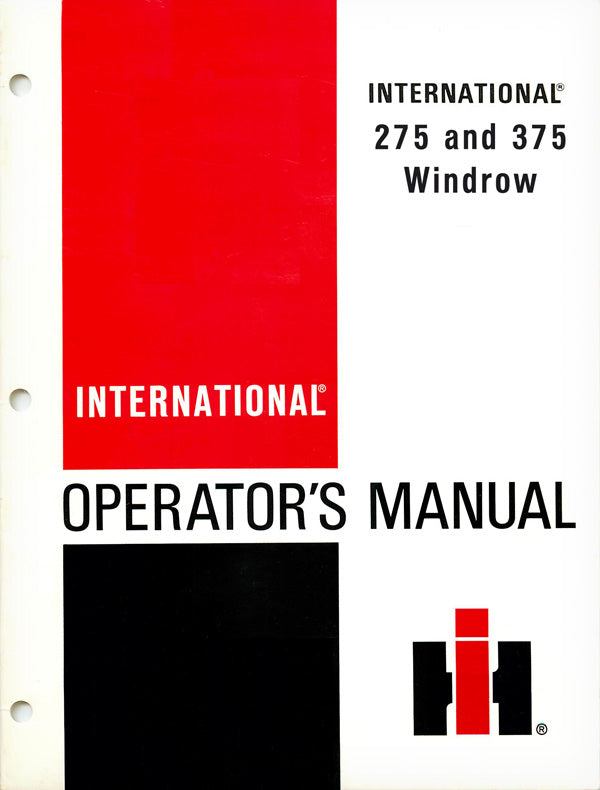 International 275 and 375 Windrow Manual