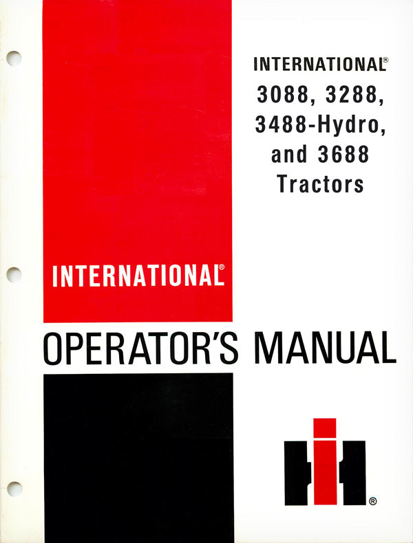 International 3088, 3288, 3488-Hydro, and 3688 Tractors Manuals