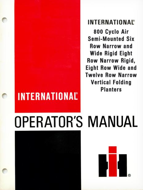 International 800 Cyclo Air Vertical Folding Planters Manual