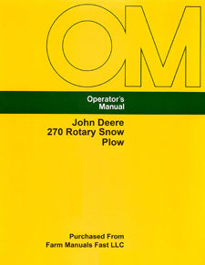 John Deere 270 Rotary Snow Plow Manual