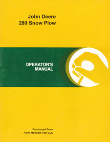 John Deere 280 Snow Plow Manual