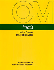 John Deere 315 Rigid Disk Manual