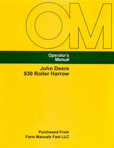John Deere 930 Roller Harrow Manual