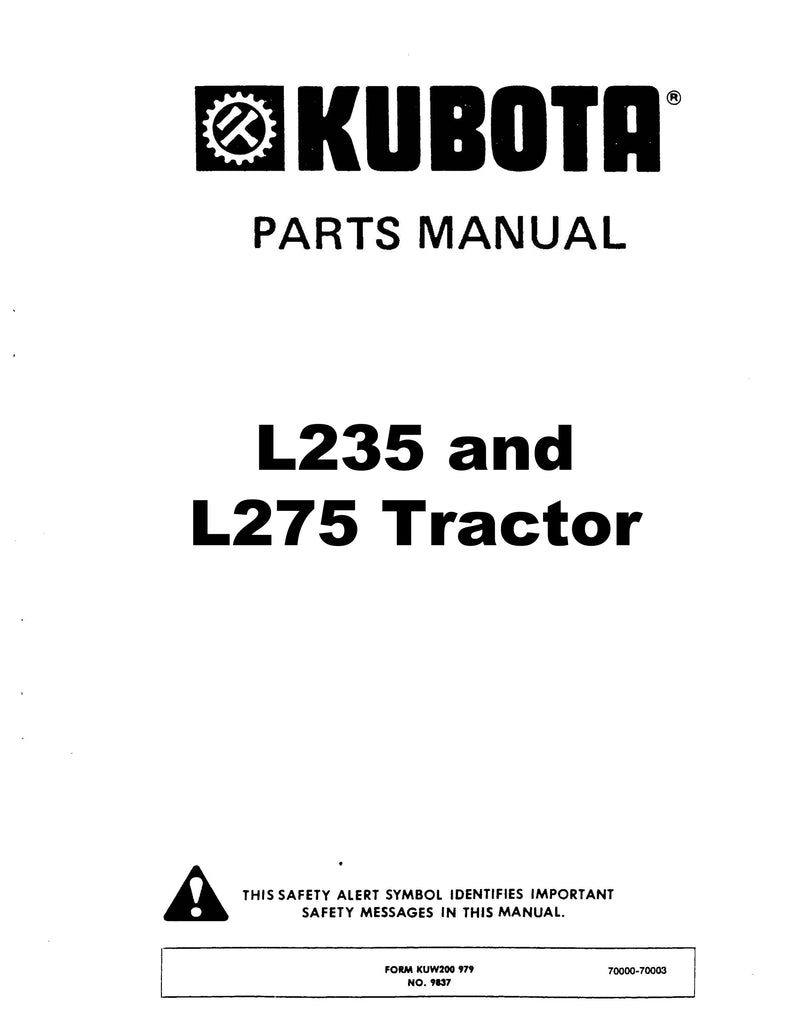 Kubota L235 and L275 Tractor - Parts Catalog