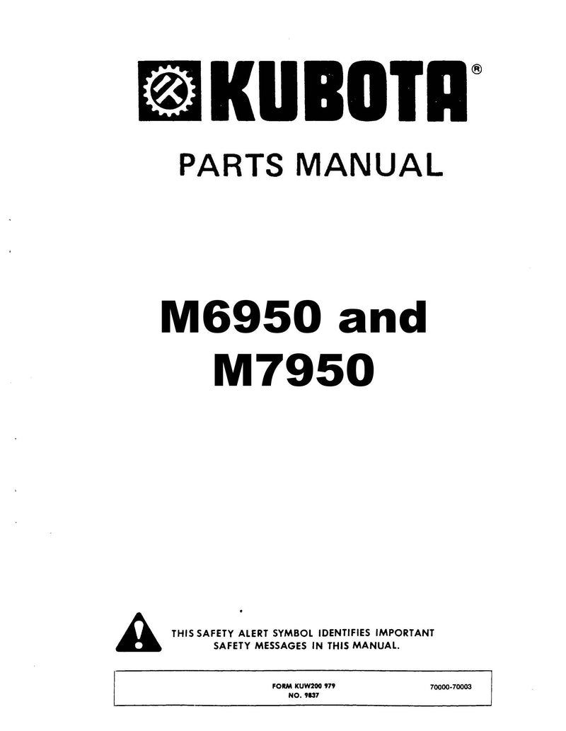 Kubota M6950 and M7950 Tractor - Parts Catalog