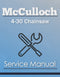 McCulloch 4-30 Chainsaw - Service Manual Cover