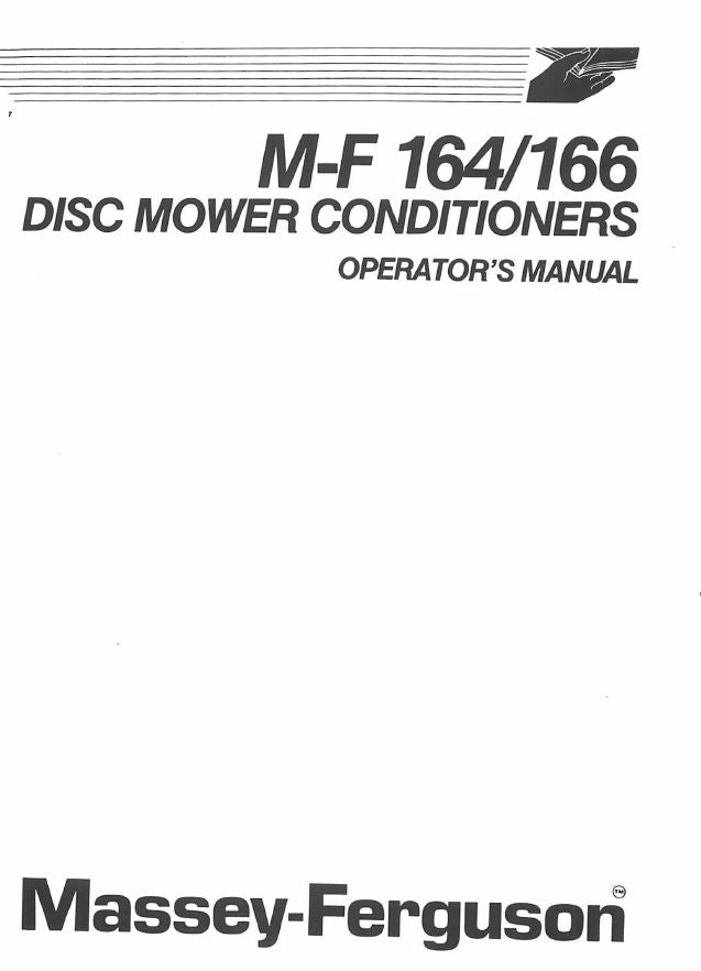 Massey Ferguson 164 and 166 Mower Conditioners Manual