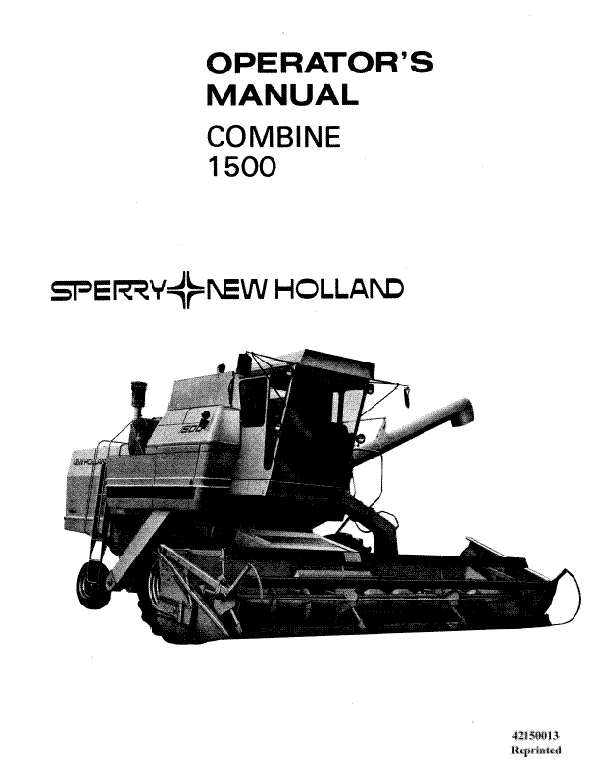New Holland 1500 Combine Manual
