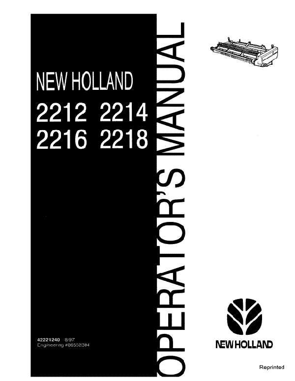 New Holland 2212, 2214, 2216 and 2218 Headers Manual