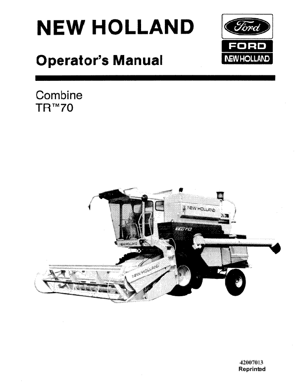 New Holland TR70 Combine Manual