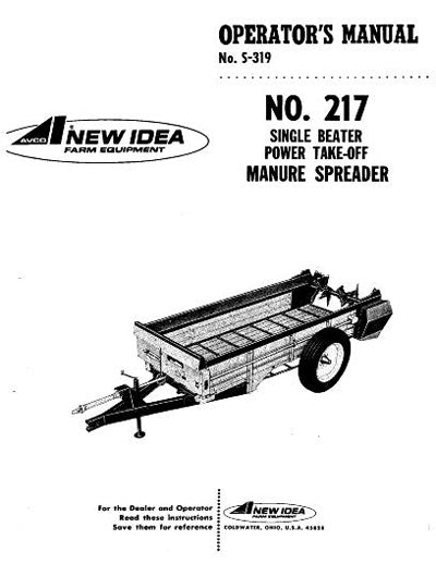 New Idea 211, 212, 213, 214, and 217 Manure Spreader