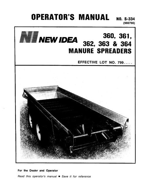 New Idea 360, 361, 362, 363, and 364 Manure Spreader Manual