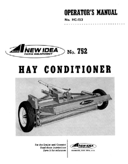 New Idea 752 Hay Conditioner Manual