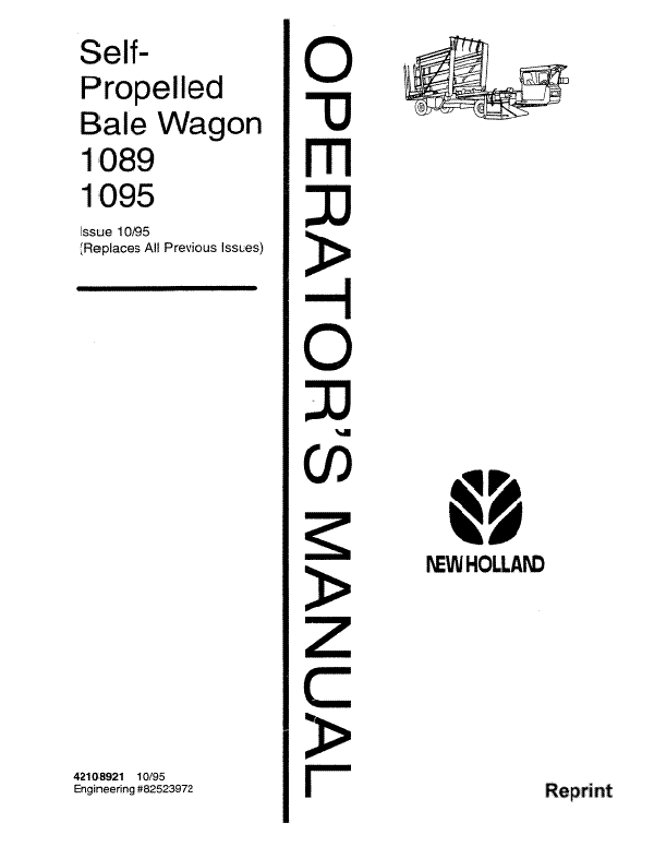 New Holland 1089 and 1095 Bale Wagon Manual