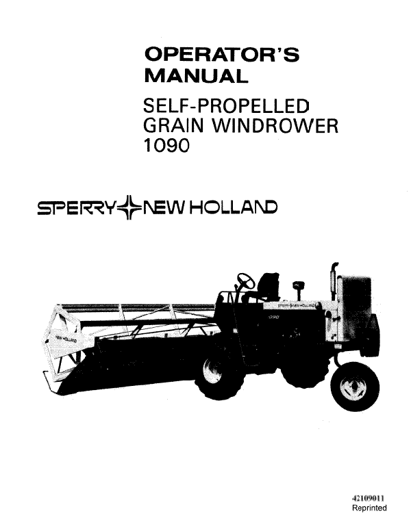 New Holland 1090 Windrower Manual