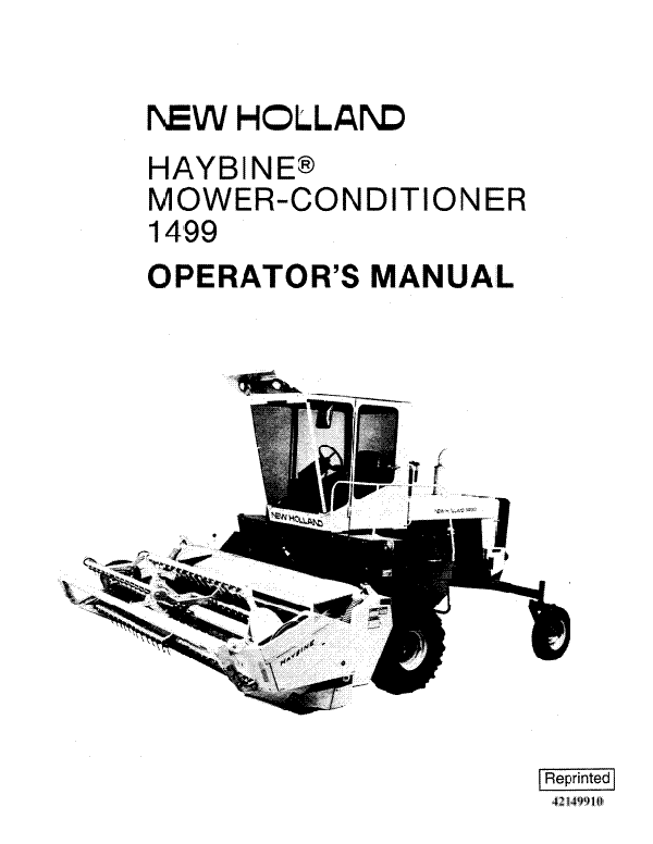 New Holland 1499 Haybine Mower-Conditioner Manual
