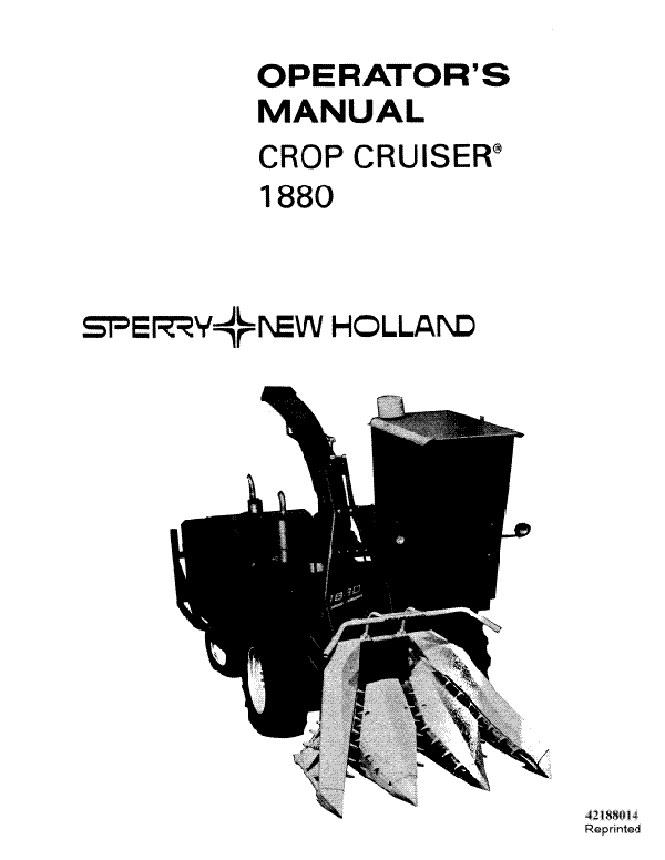 New Holland 1880 Crop Cruiser Manual