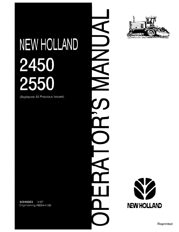 New Holland 2450 and 2550 Windrower Manual