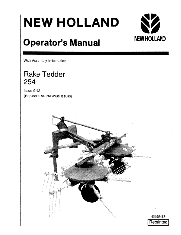 New Holland 254 Rake Tedder Manual