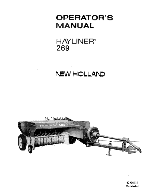 New Holland 269 Square Hay Bale Manual