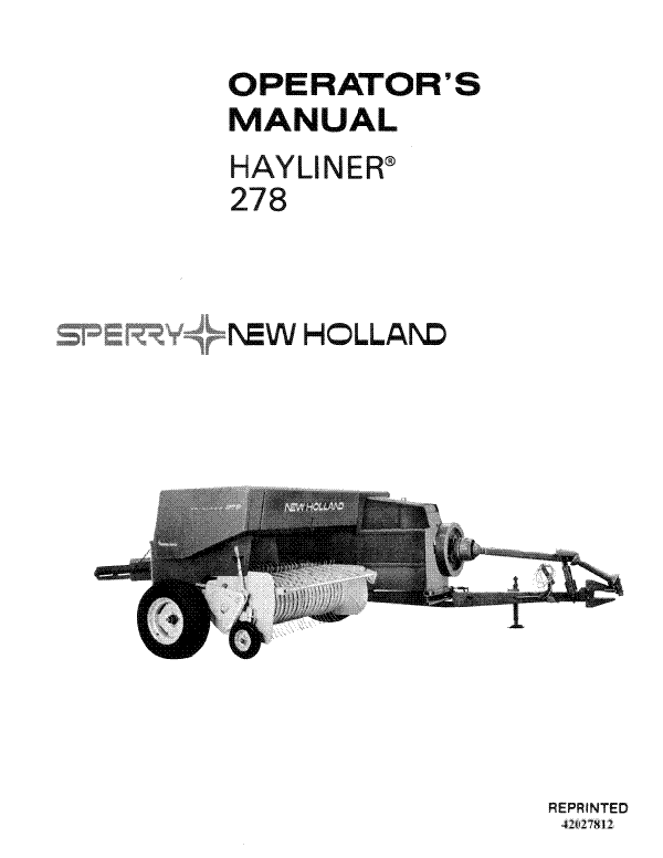 New Holland 278 Hay Baler Manual