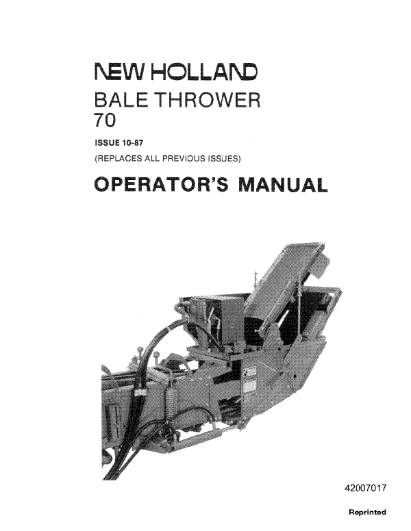 New Holland 70 Bale Thrower Manual
