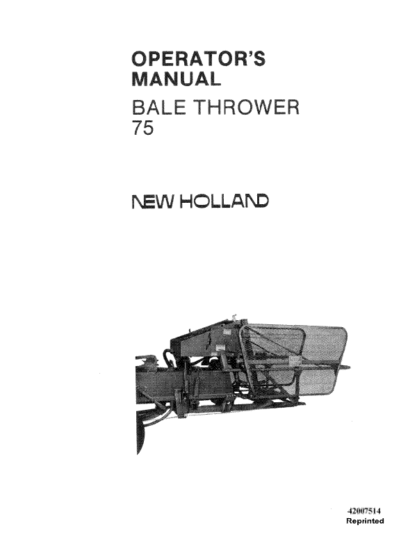 New Holland 75 Bale Thrower Manual