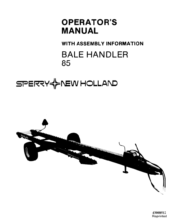 New Holland 85 Bale Handler Manual